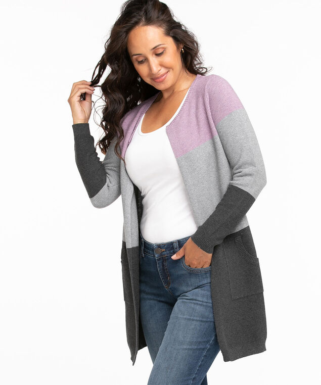 Cotton Colourblock Cardigan, Dusty Purple/Grey/Dark Grey