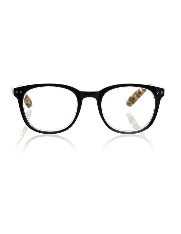 Black Leopard Reader Glasses, Black, hi-res