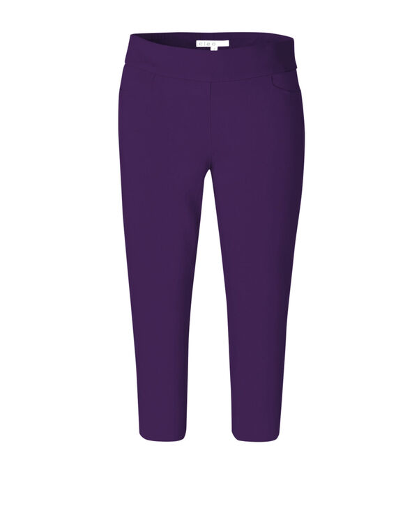 Dark Purple Capri Pull On Pant, Dark Purple, hi-res