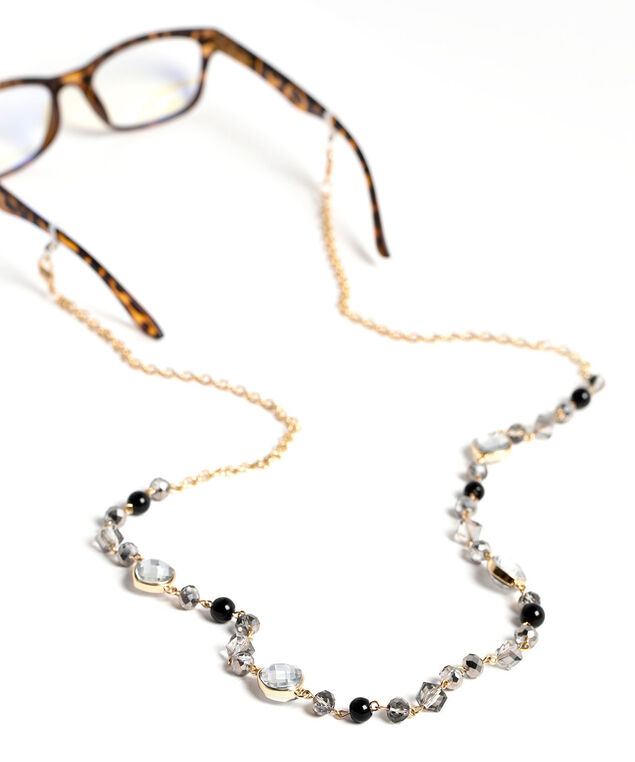 Beaded Gold Mask & Sunglasses Chain, Gold/Black