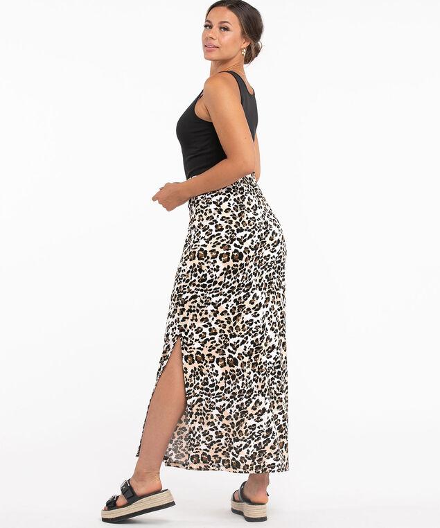 Leopard Print Front Slit Maxi Skirt, Leopard Print