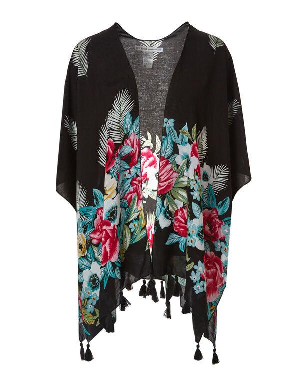 Black Tropical Floral Kimono, Black, hi-res