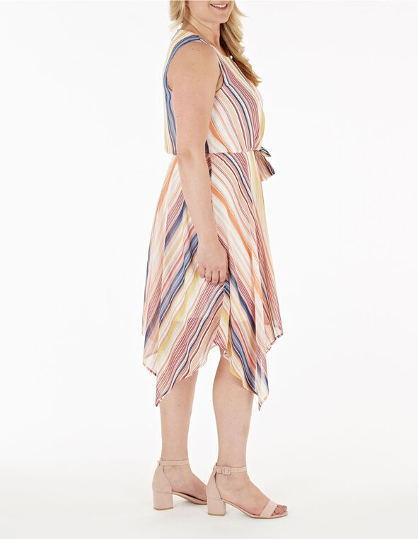 Front Tie Striped Dress, Coral, hi-res