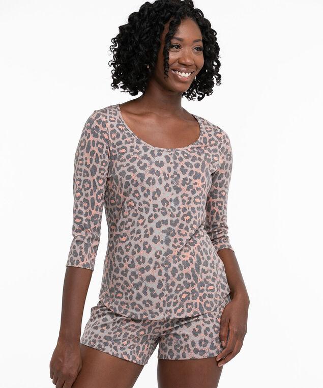 Super Soft 3/4 Sleeve Pyjama Top, Grey/Pink Animal