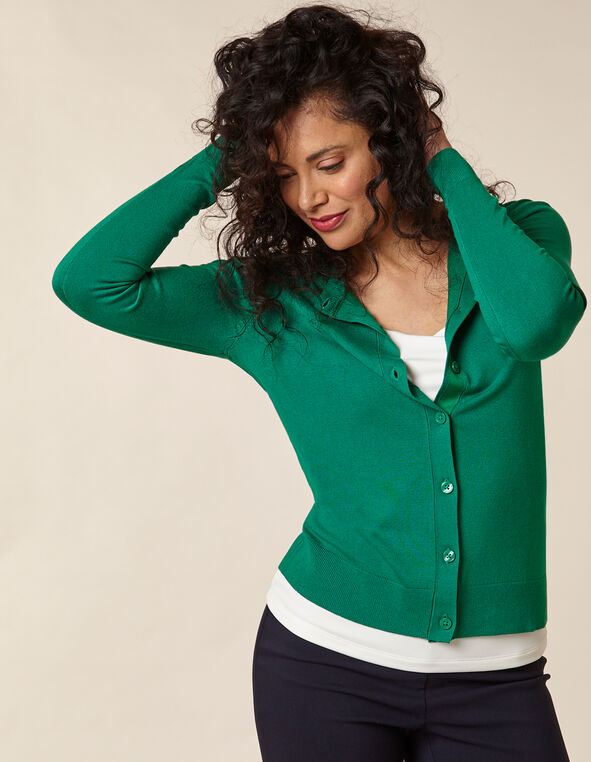 Emerald Button Front Cardigan, Green/Emerald, hi-res