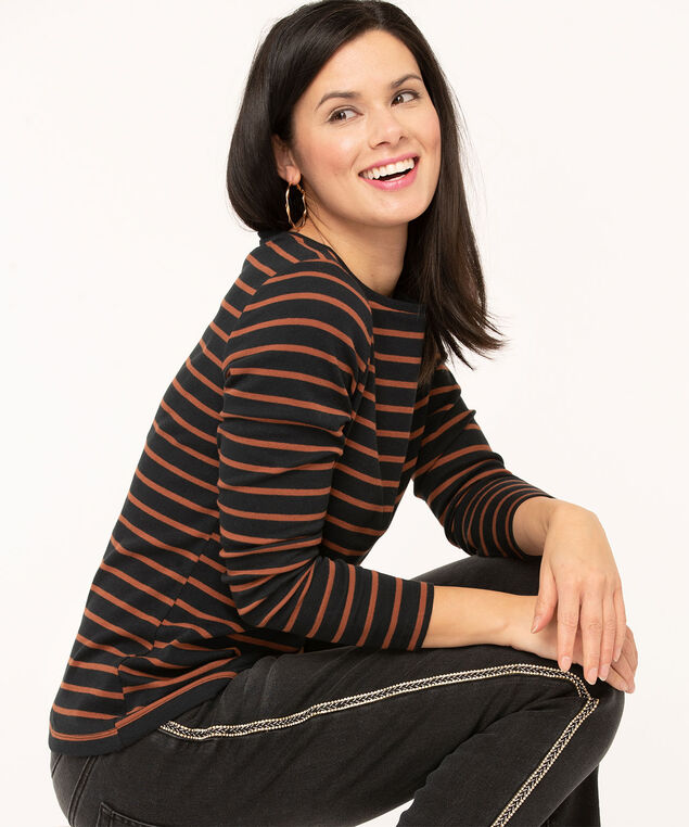 Long Sleeve Boat Neck Tee, Black/Caramel Stripe