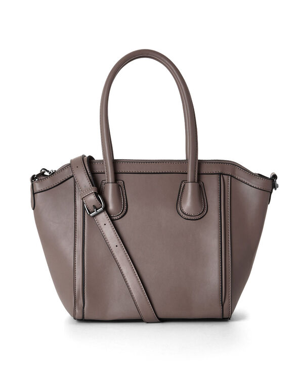 Neutral Structured Satchel Handbag, Neutral, hi-res