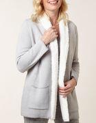 Grey Shearling Detail Sweater Coat, Grey, hi-res