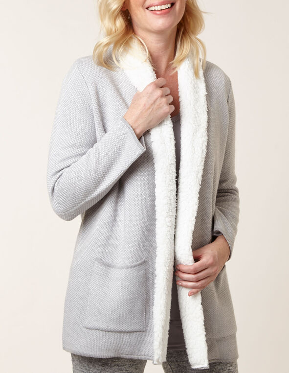 Grey Shearling Detail Sweater Coat, Grey, hi-res