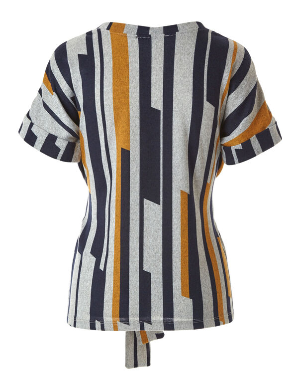 Grey Striped Front Tie Top, Grey, hi-res