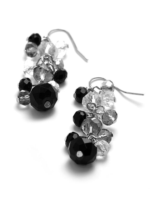 Black Beaded Dangle Earring, Black/Silver, hi-res