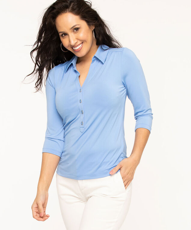 Collared 3/4 Sleeve Popover Top, Sky Blue