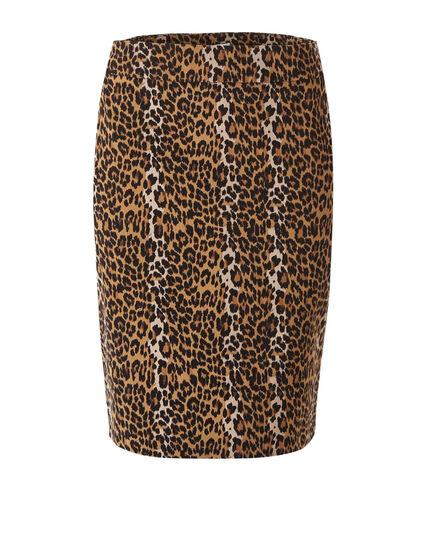 Animal Printed Pull On Pencil Skirt, Brown, hi-res