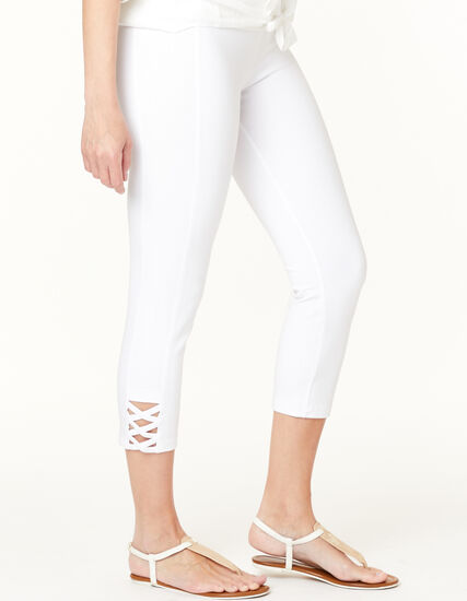 White Criss Cross Capri Legging, White, hi-res