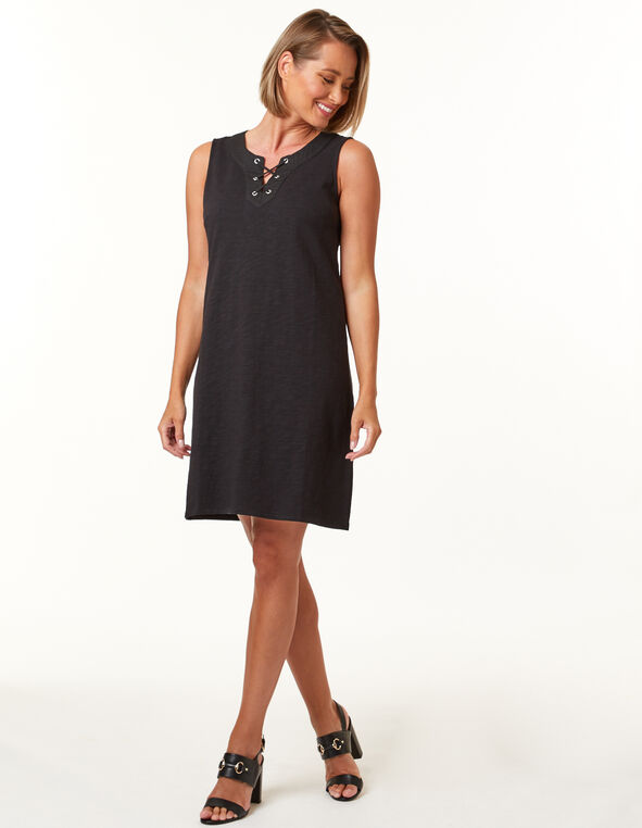 Black Tie Neck Slub Dress, Black, hi-res
