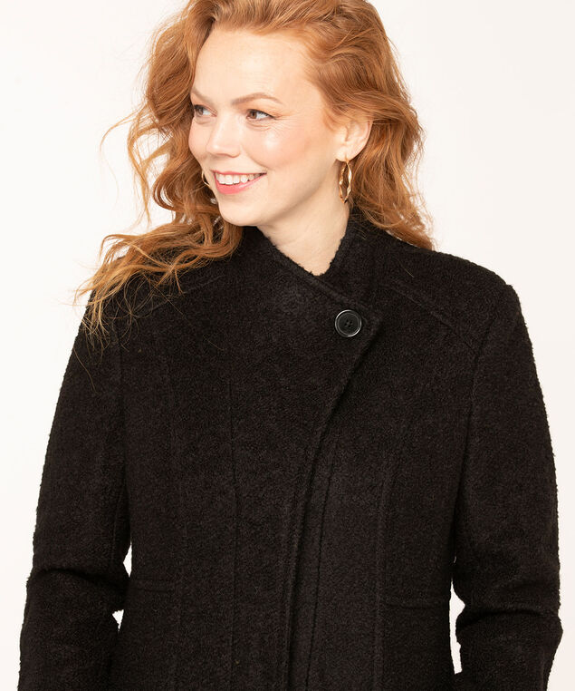 Bouclé Standing Collar Coat, Black