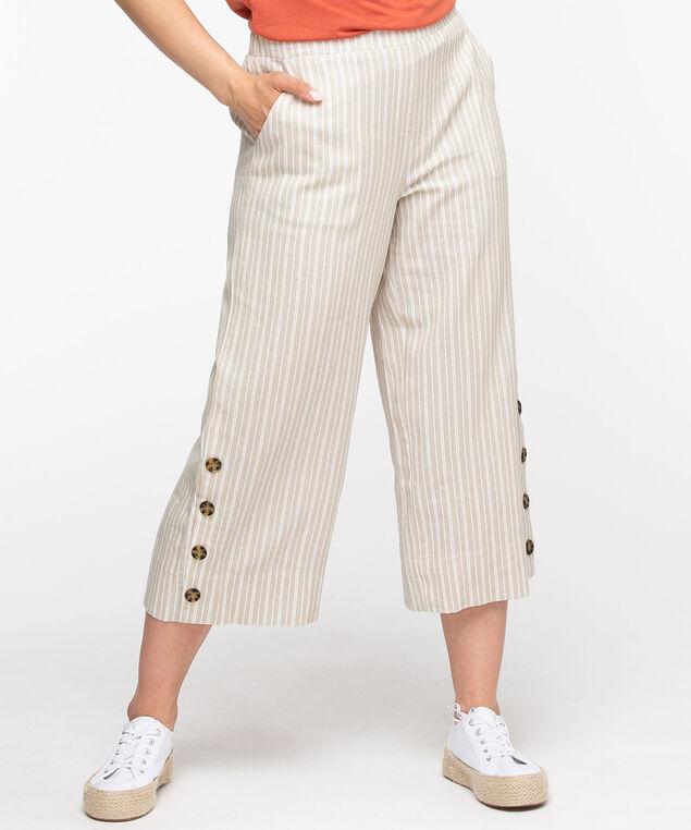 Linen Blend Wide Leg Crop Pant, Stone/White Stripe