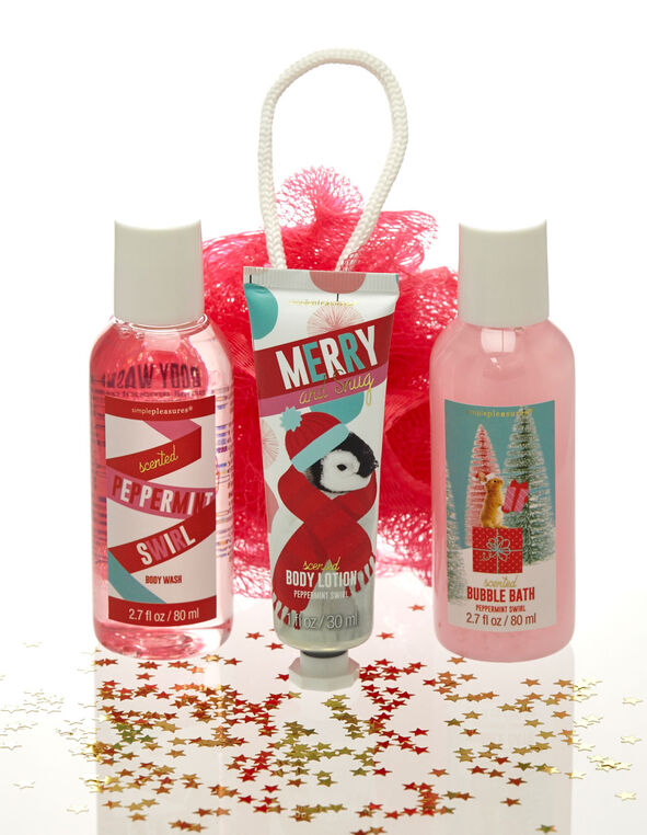 Peppermint Swirl Bath Collection Set, Pink, hi-res