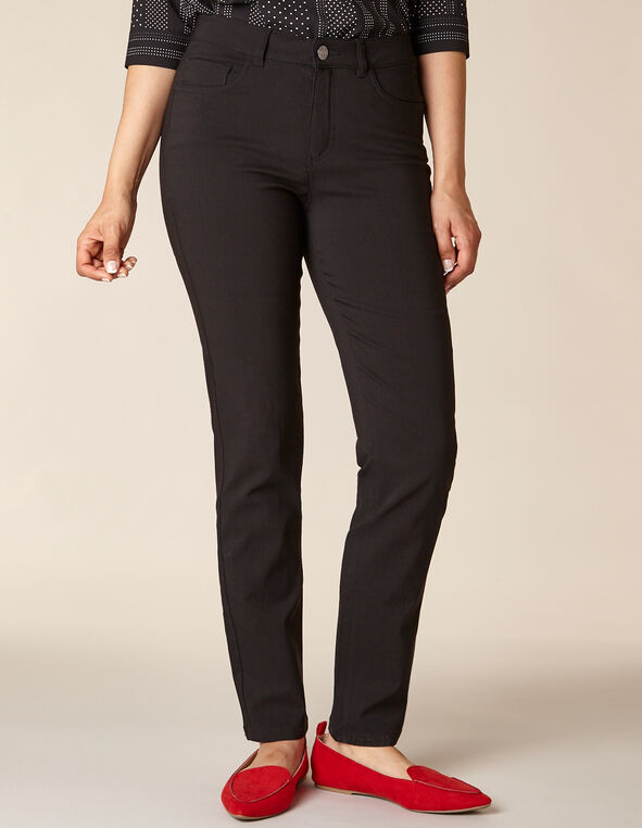 Black Solid 5 Pocket Slim Pant, Black, hi-res