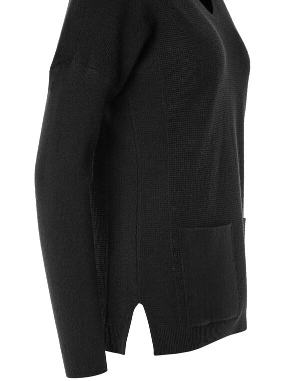 Black Front Pocket Pullover, Black, hi-res