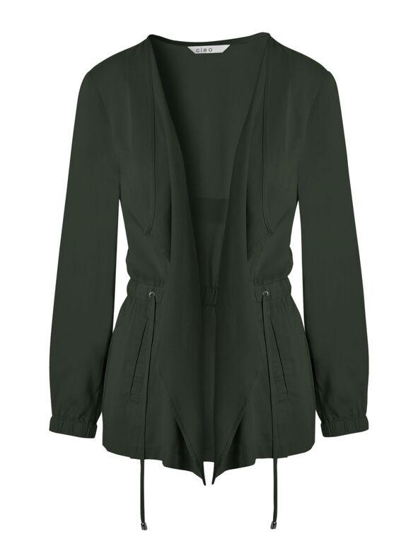 Olive Open Front Jacket, Olive, hi-res