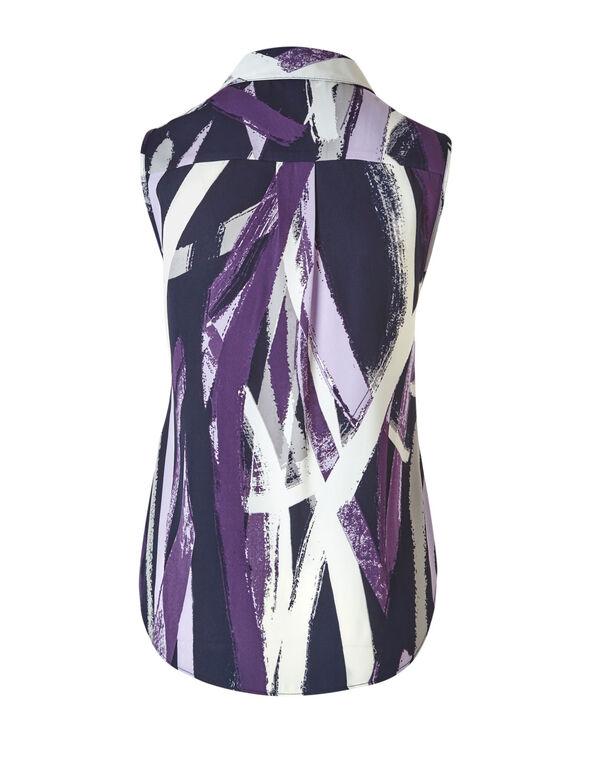 Purple Striped Button Front Blouse, Purple/Navy, hi-res