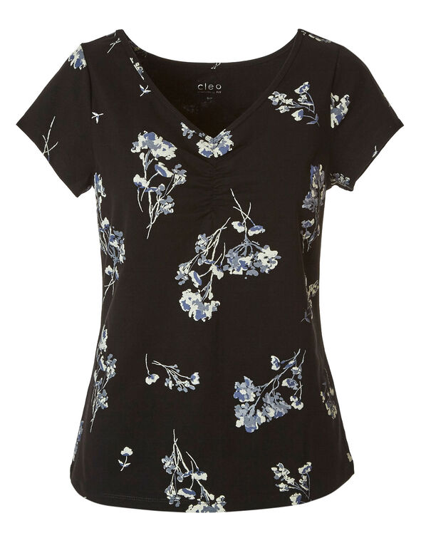 Floral Cotton Tee, Black, hi-res