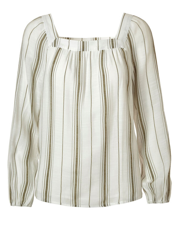 Ivory Striped Square Neck Blouse, Ivory/Olive, hi-res