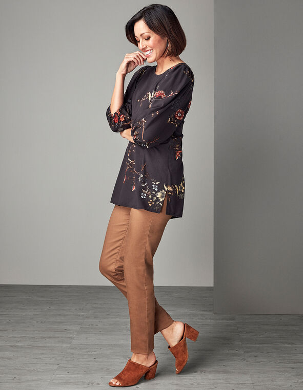 Black Floral Tunic Blouse, Black, hi-res
