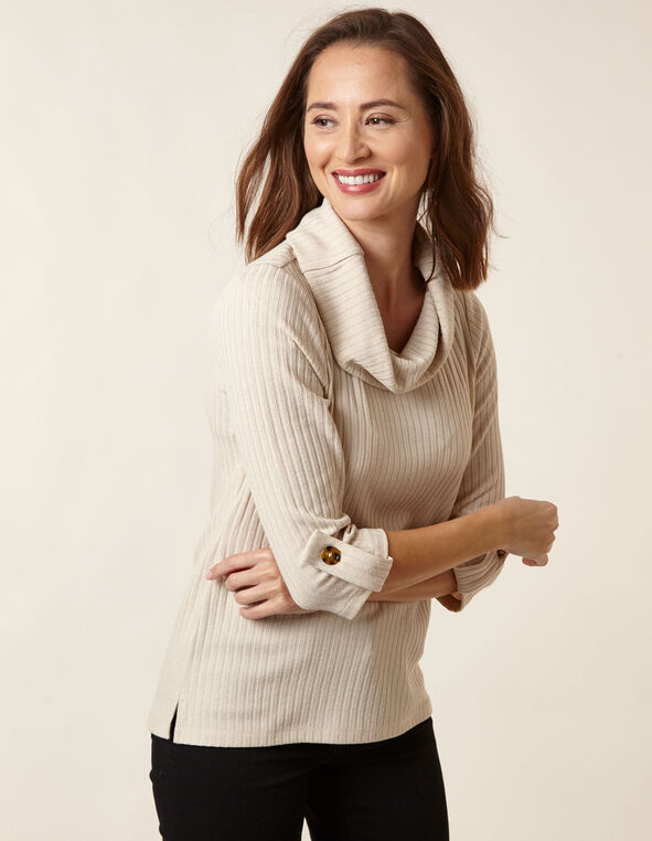 Oatmeal Hacchi Cowl Neck Top, Natural, hi-res