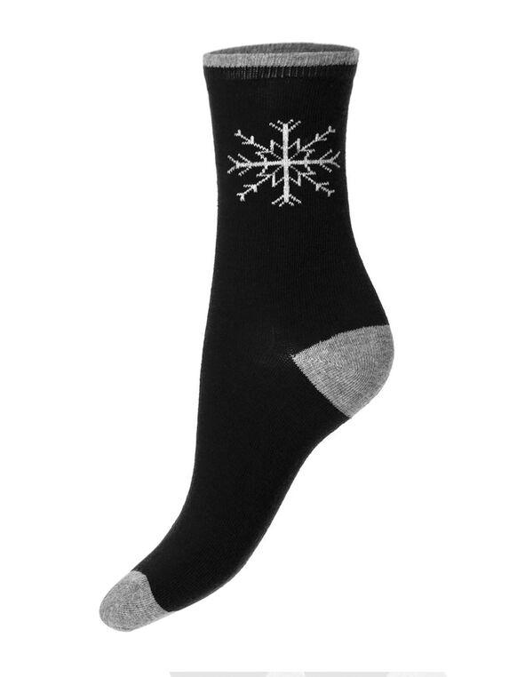 Black Snowflake Crew Sock, Black, hi-res