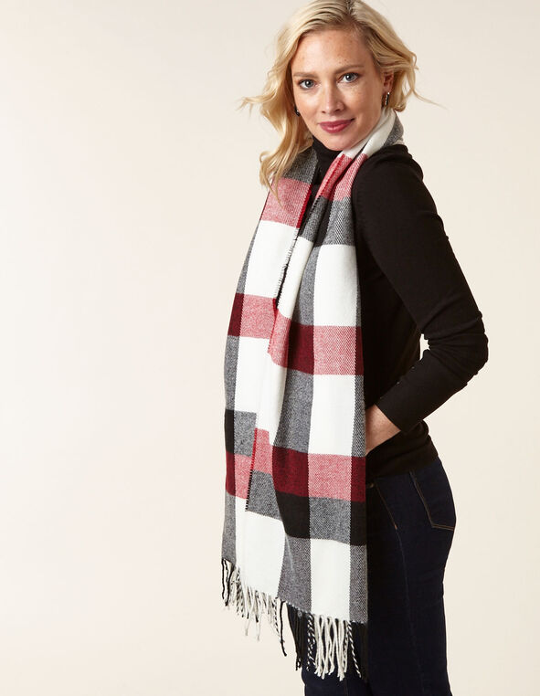 Red Plaid Scarf, Red, hi-res