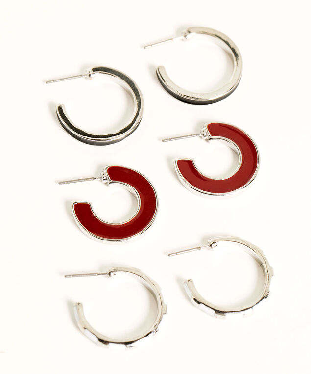 Enamel Hoop Trio Earring Set, Silver/Black/White/Wine, hi-res