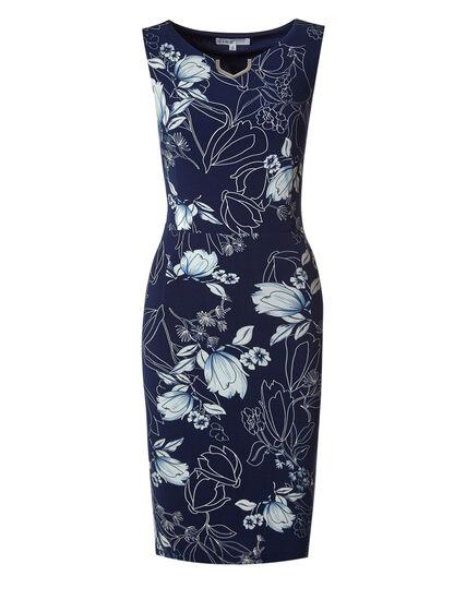 Navy Floral Sheath Dress, Navy, hi-res