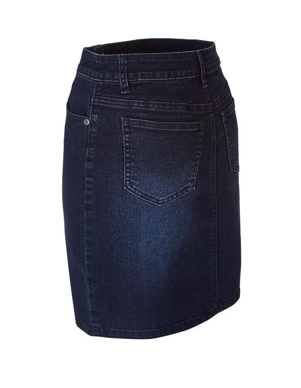 Dark Wash Denim Skirt, Dark Blue, hi-res