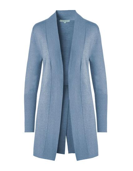 Dusty Blue Split Back Cardigan, Dusty Blue, hi-res