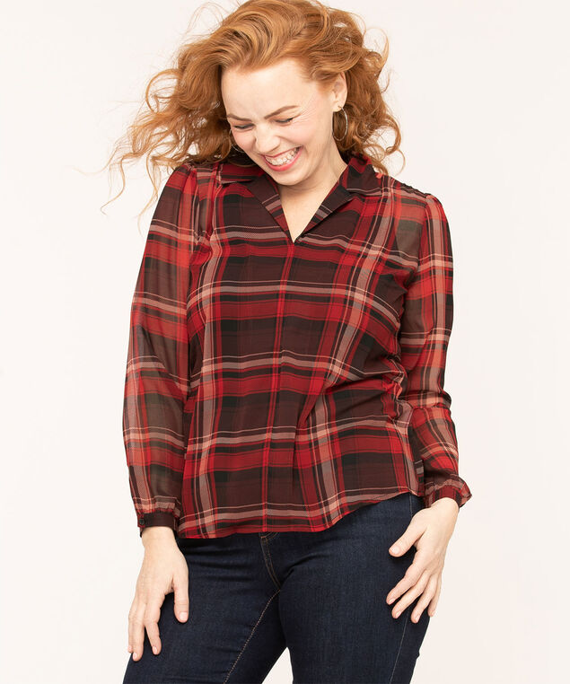 Ruby Plaid Notch Collar Blouse, Red/Black, hi-res