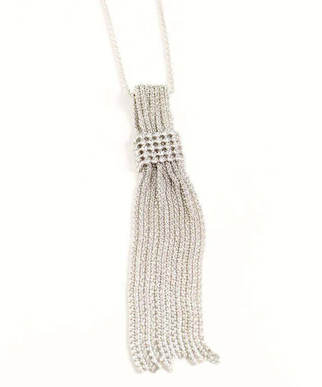 Silver Tassel Pendant Necklace, Silver, hi-res