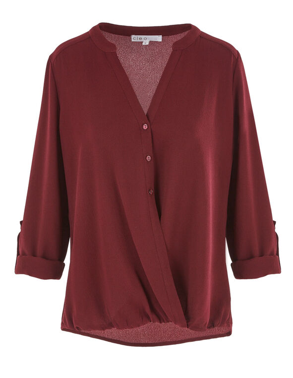 Merlot Bubble Hem Blouse, Wine, hi-res