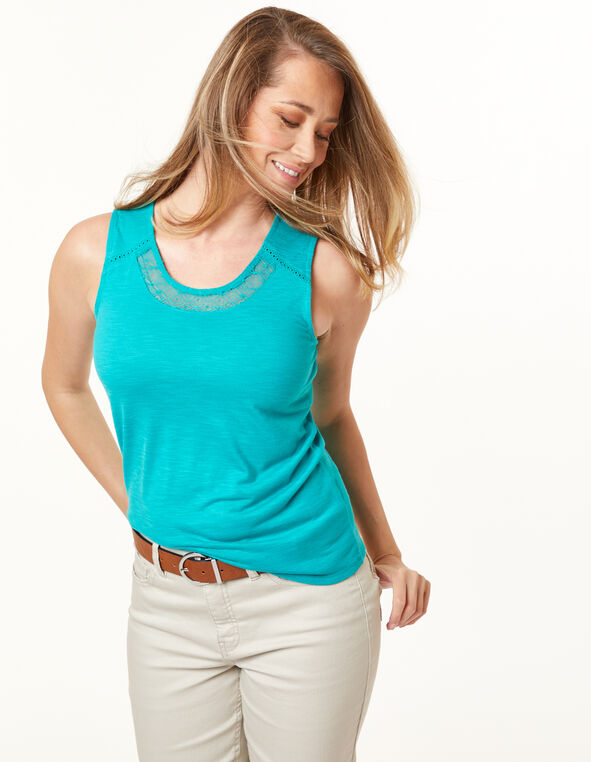 Lace Neck Top, Jade, hi-res