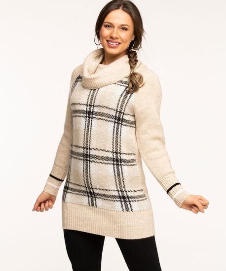 Oatmeal Cowl Neck Tunic Sweater, Oatmeal Plaid, hi-res