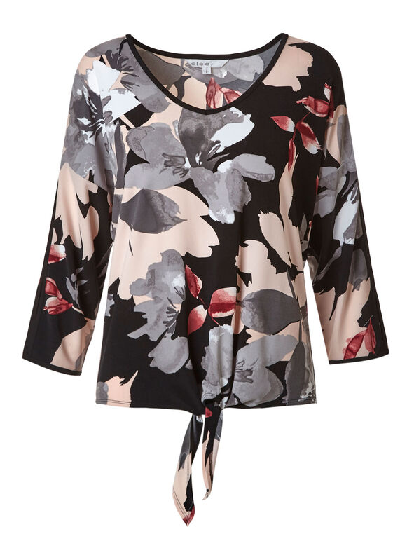 Pink Floral Open Sleeve Tie Top, Black/Pink, hi-res
