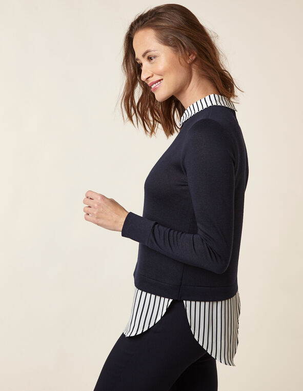 Navy Striped Fooler Top, Navy, hi-res