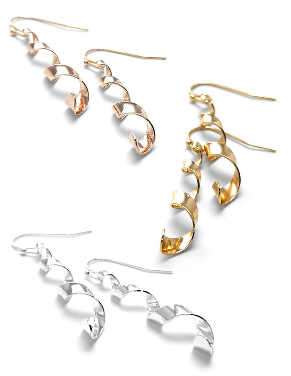 Twisty Tri-Metal Earring Trio Set, Rose Gold/Gold/Silver, hi-res