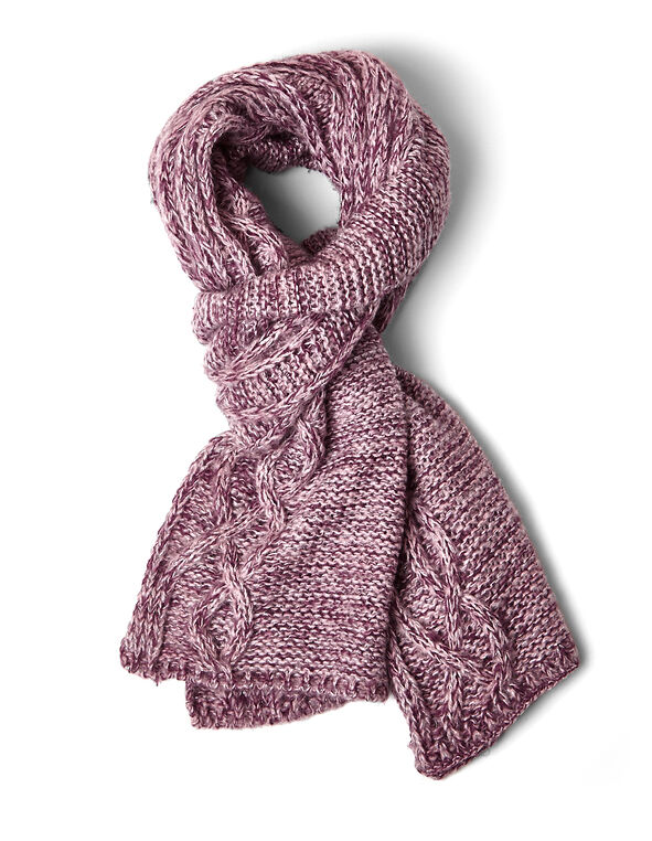 Pink Cable Knit Lurex Scarf, Pink, hi-res