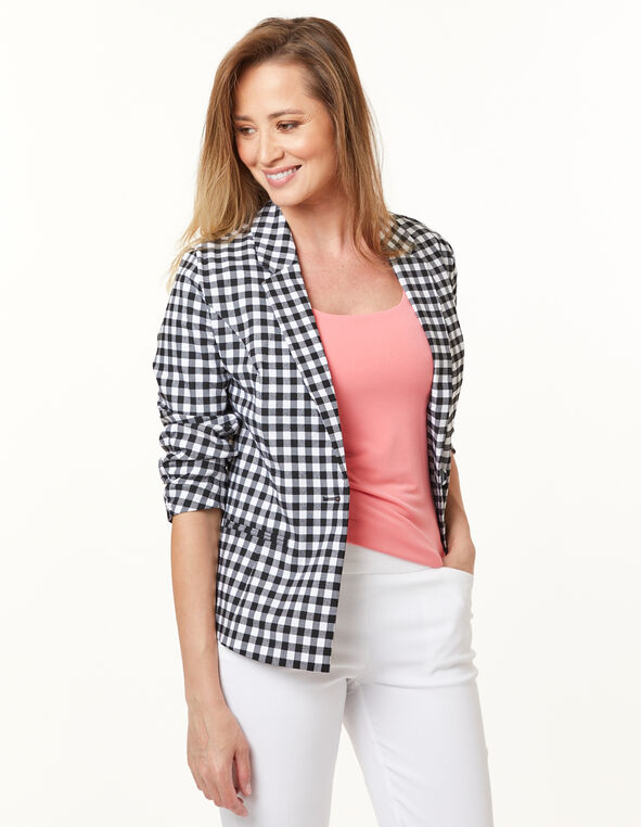 Gingham Ruched Blazer, Black/White, hi-res