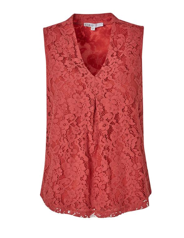Grapefruit Lace Sleeveless Knit Top, Grapefruit, hi-res