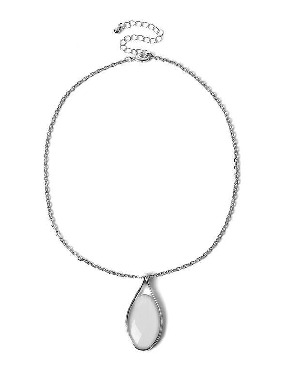 White Reversible Cat Eye Short Necklace, White, hi-res