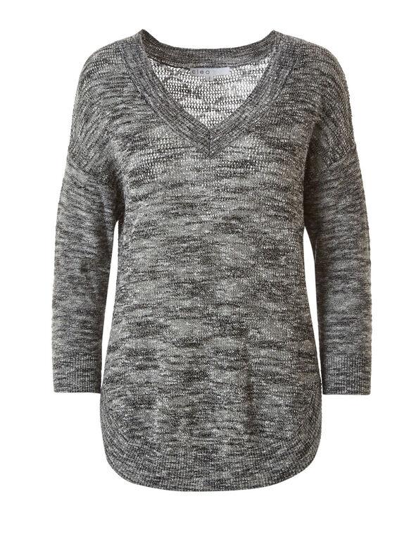 Black Slub Pull Over Sweater, Black, hi-res