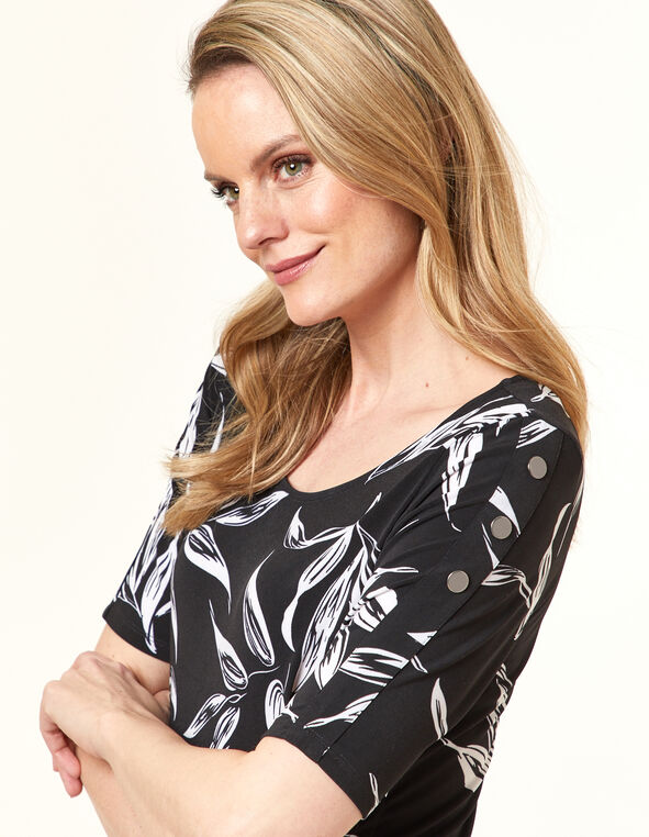 Black Leaf Print Tunic Top, Black, hi-res
